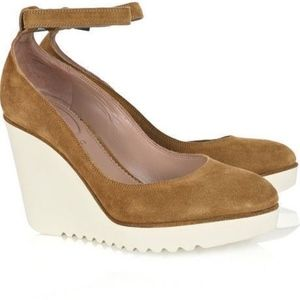 Chloe Mary Jane Wedges Size 9 Rubber Soles Suede